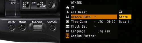 "With a SxS card inserted in one of the slots, use the main menu to either ""store"" a profile on a card, or ""recall"" a profile from a card. Unfortunately at this time, although the camera's internal memory will save up to 6 picture profiles, only 1 profile will save per card."