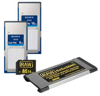 A variety of SxS cards are on the market including Hoodman's RAW SxSxSDHC adapter and RAW SDHC cards.