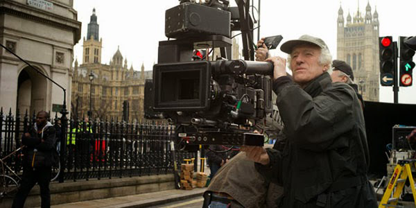 Roger Deakins ASC, BSC on set of Skyfall with an ARRI Alexa Studio